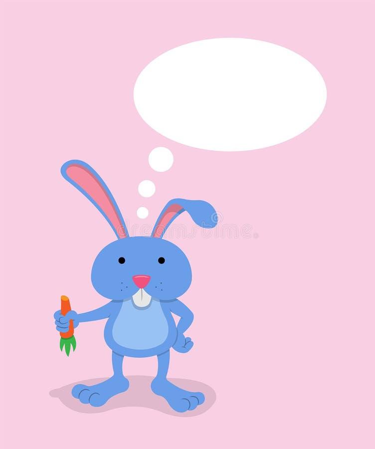 Il coniglietto del fumetto con la carota della tenuta ed il pensiero bollono illustrazione vettoriale