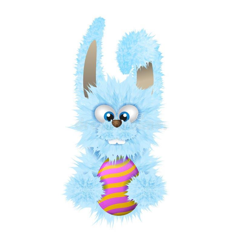 Il coniglietto di pasqua blu sta tenendo l'uovo dipinto e decorato Coniglio lanuginoso isolato sui precedenti bianchi illustrazione vettoriale