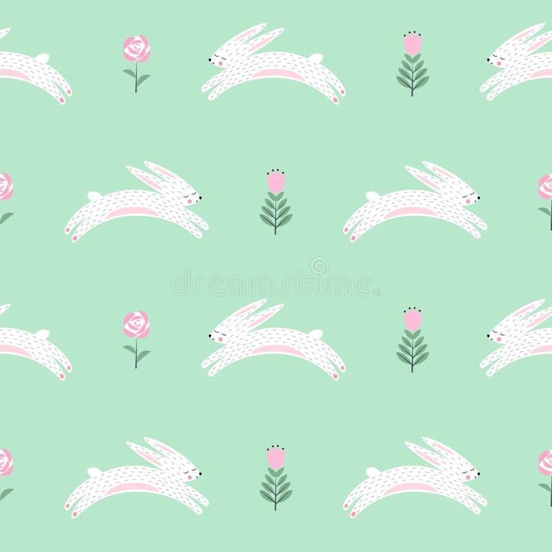 Il coniglietto di pasqua con la molla fiorisce il modello senza cuciture su fondo verde illustrazione di stock
