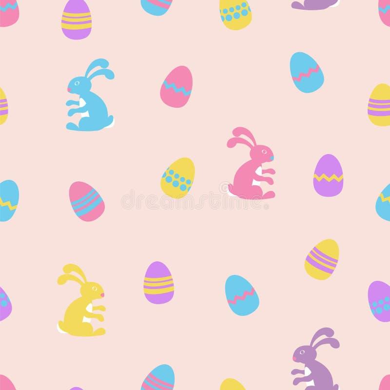 Il coniglietto di pasqua ed il vettore senza cuciture delle uova modellano il fondo illustrazione vettoriale