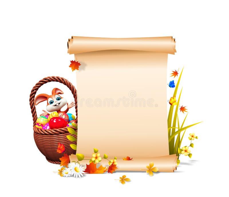 Il coniglietto di pasqua eggs il secchio & il segno royalty illustrazione gratis