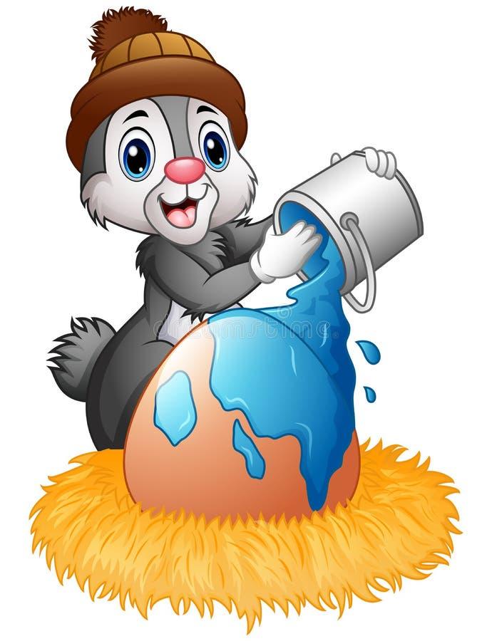 Il coniglietto di pasqua spruzza di pittura sulle uova nel nido royalty illustrazione gratis