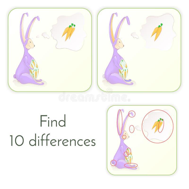 Il coniglietto di pasqua sveglio pensa alle carote Illustrazione di vettore Cartolina d'auguri per Pasqua immagine stock libera da diritti