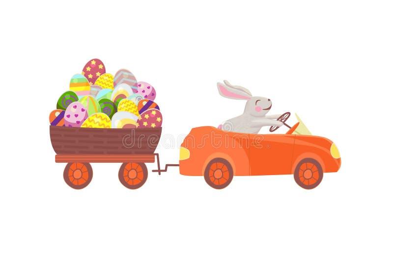 Il coniglietto divertente che conduce un'automobile rossa porta un grande canestro con le uova di Pasqua su un rimorchio illustrazione vettoriale
