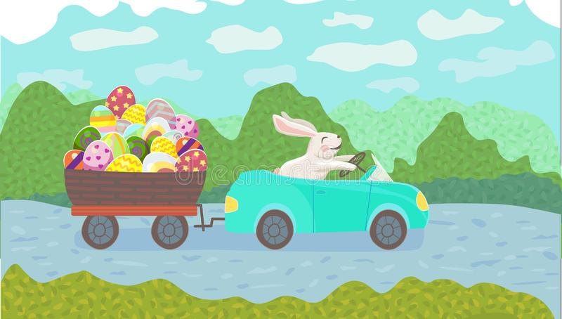 Il coniglietto felice sta conducendo l'automobile blu e trascina il canestro dell'uovo con le uova multicolori sul parco nella st illustrazione vettoriale