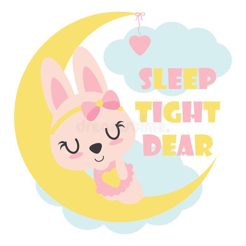 Il coniglietto sveglio del bambino dorme sull'illustrazione del fumetto della luna per progettazione della maglietta del bambino royalty illustrazione gratis