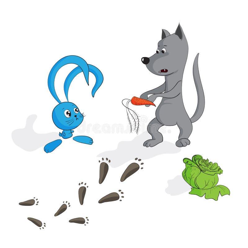Il coniglietto sveglio di vettore ed il lupo rende prizent, verdure illustrazione vettoriale