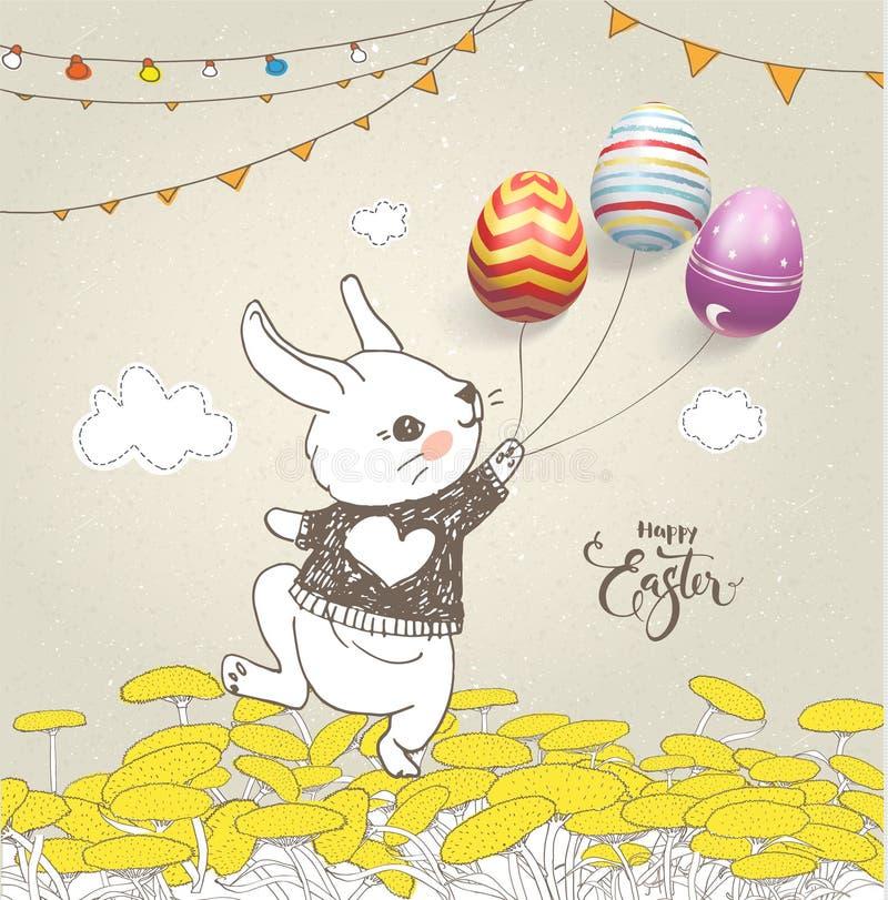 Il coniglio adorabile del bambino si è vestito in saltatore che tiene le uova variopinte sui thread, sul campo floreale, sulle gh illustrazione vettoriale