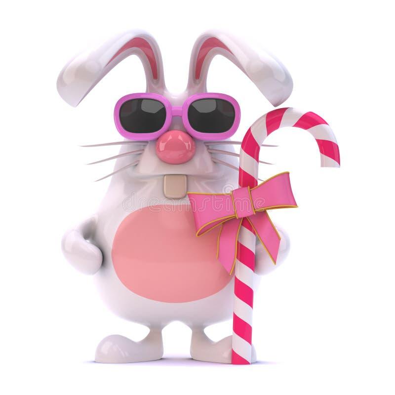 il coniglio bianco 3d ha caramella illustrazione vettoriale