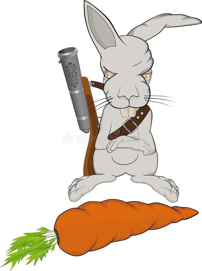 Il coniglio cattivo protegge una carota illustrazione vettoriale