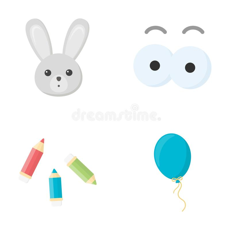 Il coniglio con le orecchie lunghe, matite colorate per il disegno, aerostato blu, occhio gioca con le sopracciglia I giocattoli  illustrazione di stock
