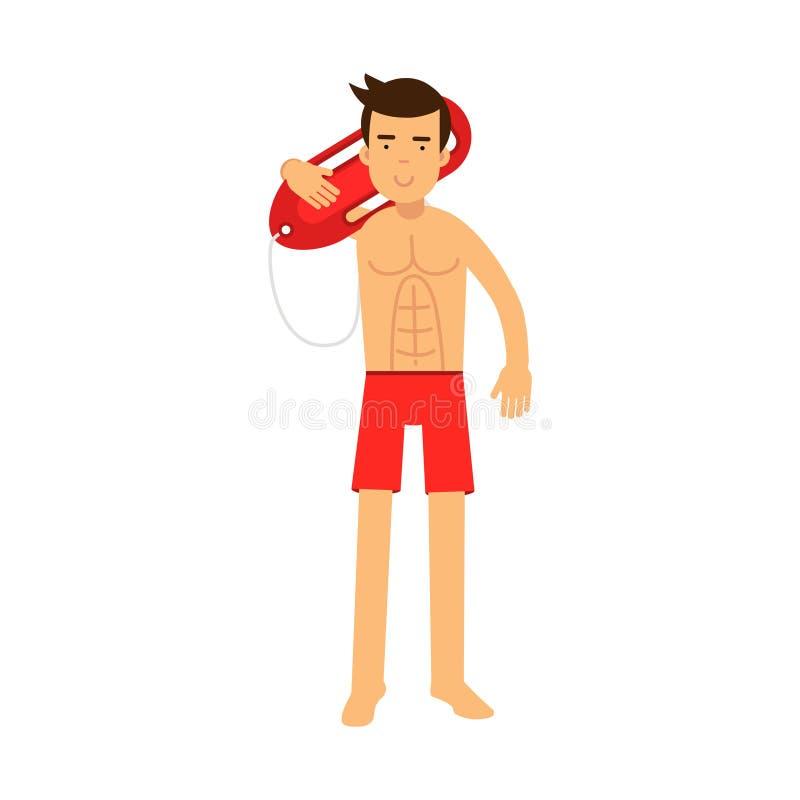 Il conservatore di vita in servizio di condizione e della tenuta del carattere dell'uomo del bagnino buoy sulla sua illustrazione illustrazione vettoriale