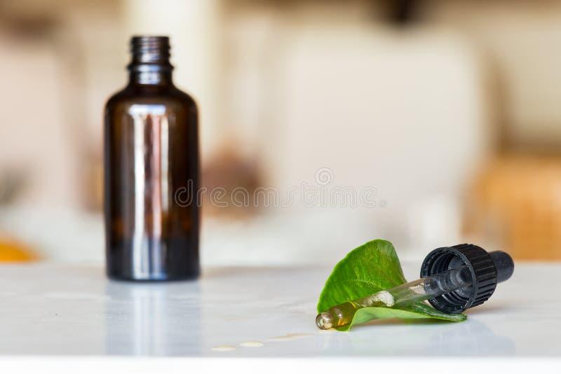 Il contagoccia con liquido si è rovesciato con una bottiglia e una foglia verde immagine stock libera da diritti