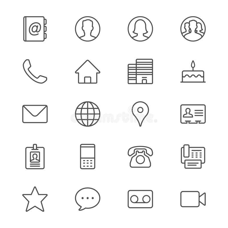 Il contatto assottiglia le icone royalty illustrazione gratis
