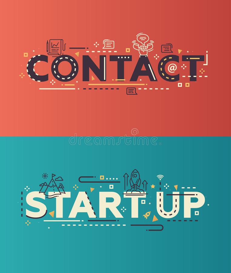 Il contatto piano moderno di progettazione, comincia su segnare con le icone di affari illustrazione di stock