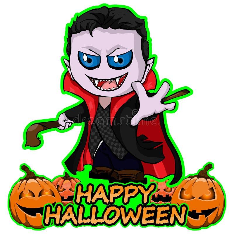 Il Conte Dracula desidera Halloween felice su un fondo bianco isolato fotografia stock