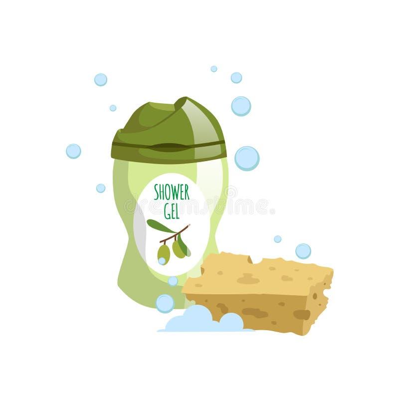 Il contenitore d'avanguardia di verde di progettazione del fumetto con sapone liquido verde oliva ed il bagno giallo puliscono l' illustrazione vettoriale