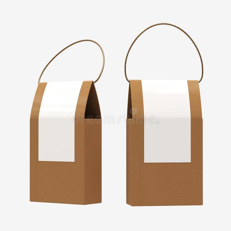 Il contenitore di alimento della carta di Brown che imballa con la maniglia, percorso di ritaglio include fotografia stock