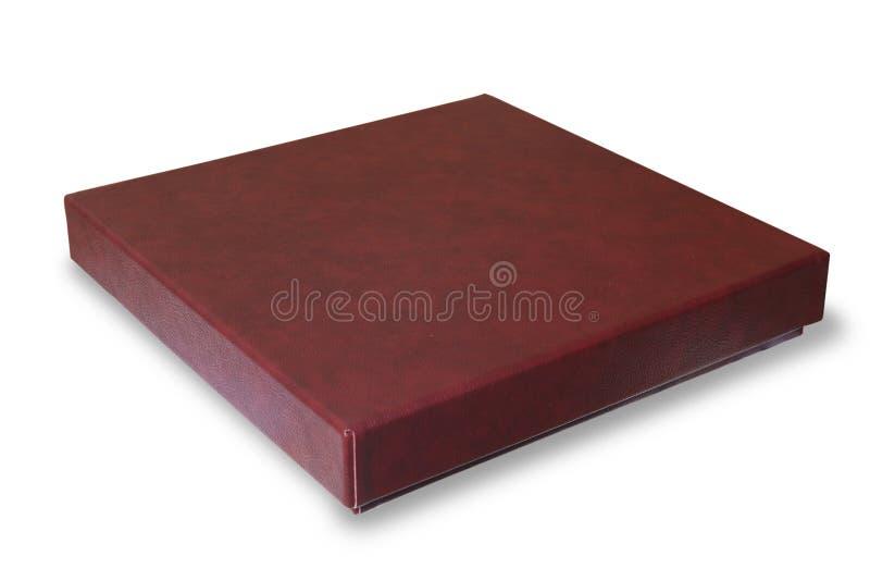 Il contenitore di regalo di cuoio marrone-rosso si è chiuso fotografia stock libera da diritti