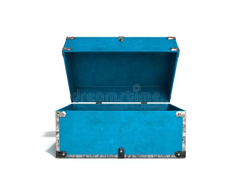 Il contenitore sicuro 3d di mano blu d'annata aperta rende su bianco royalty illustrazione gratis