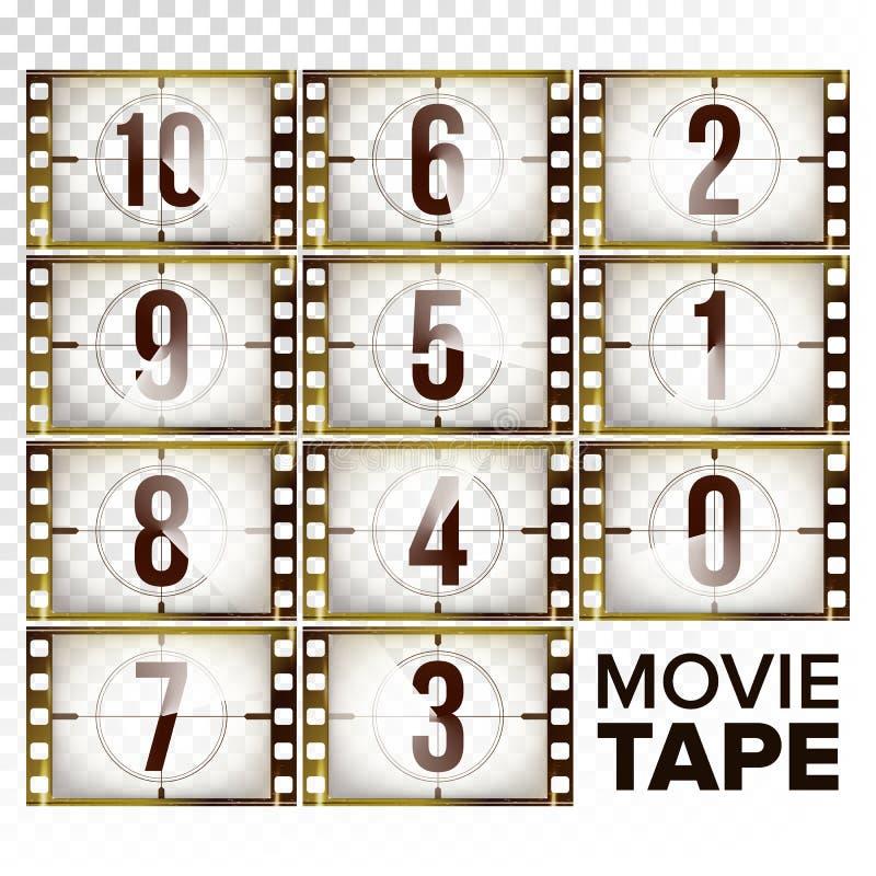 Il conto alla rovescia del film numera 10 - 0 vettori Striscia di pellicola monocromatica di lerciume di Brown Elementi del cinem illustrazione vettoriale