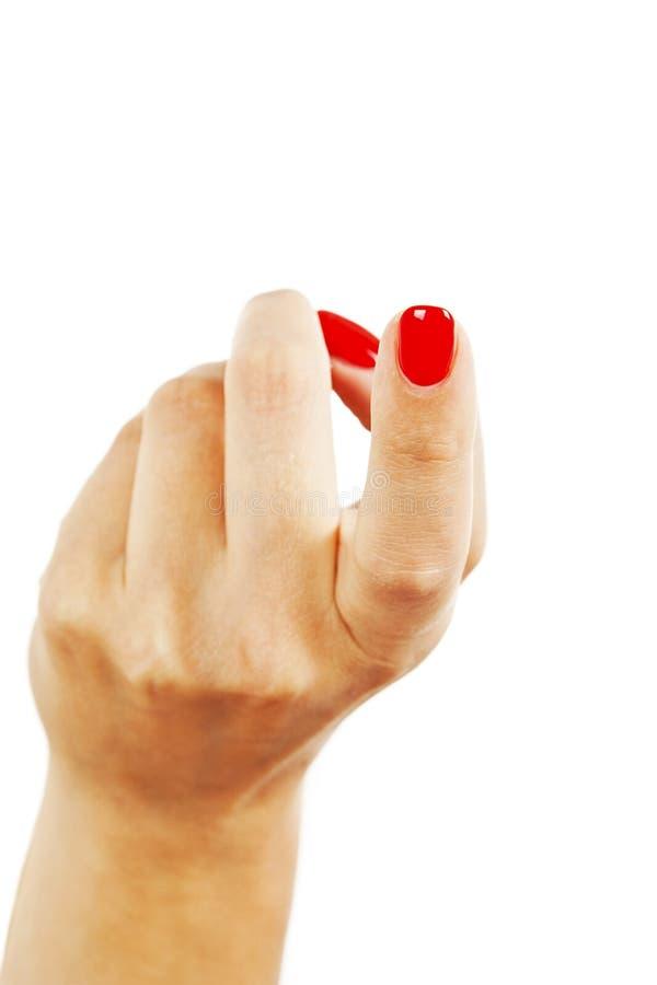 Il conto curvato femminile del dito indice viene qui fotografie stock libere da diritti
