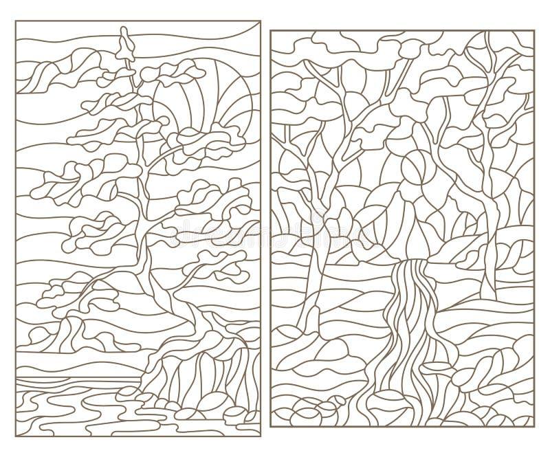 Il contorno ha messo con le illustrazioni del vetro macchiato dei paesaggi con gli alberi royalty illustrazione gratis