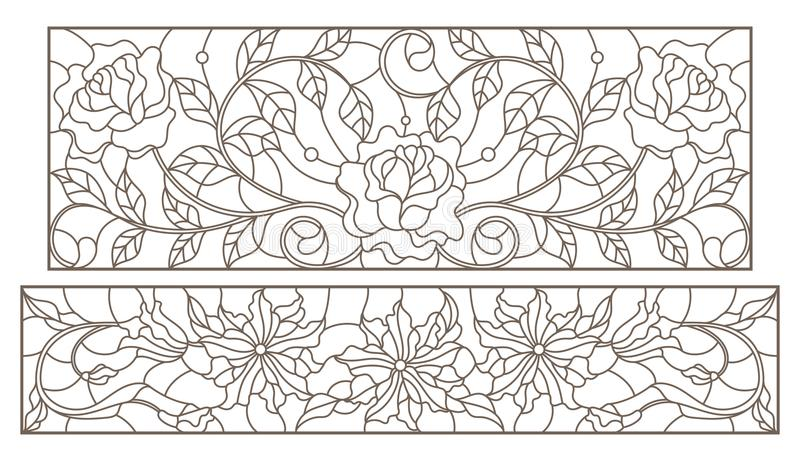 Il contorno ha messo con le illustrazioni del vetro macchiato con le disposizioni floreali e le rose, profili scuri su un fondo b illustrazione vettoriale