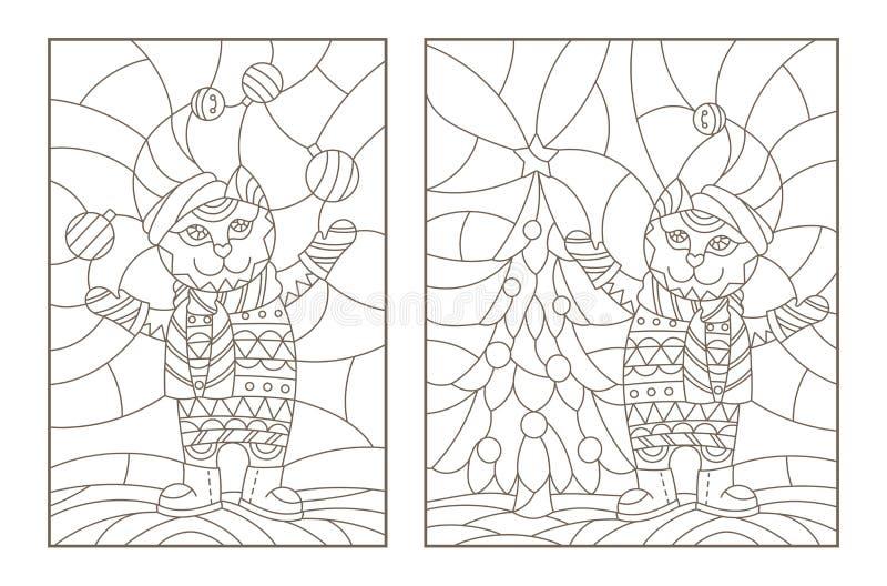 Il contorno ha messo con le illustrazioni del vetro macchiato Windows con i gatti di Natale, profili scuri su un fondo leggero royalty illustrazione gratis