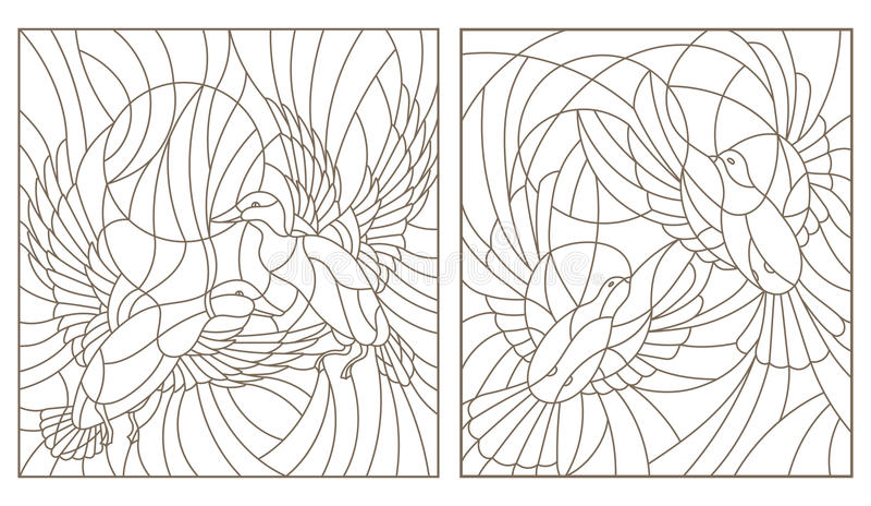 Il contorno ha messo con le illustrazioni delle coppie degli uccelli del vetro macchiato i piccioni e le anatre nel cielo e nel s royalty illustrazione gratis