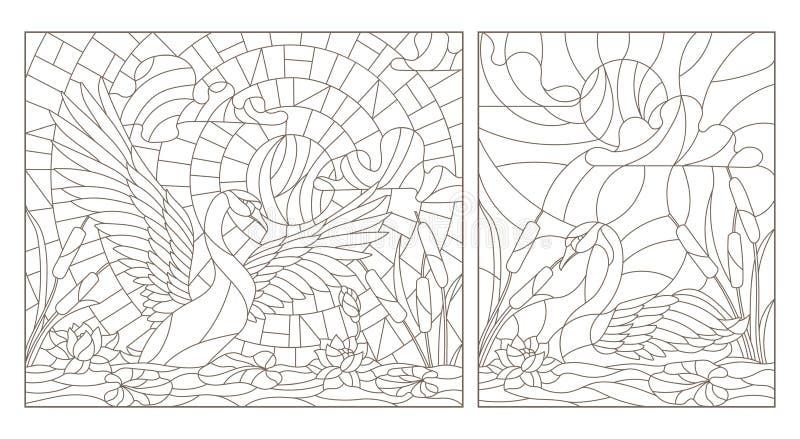 Il contorno ha messo con le illustrazioni di vetro macchiato con i cigni ed i loti su uno stagno su un cielo e su un sole del fon illustrazione di stock