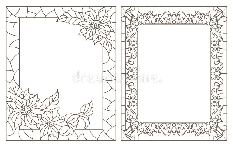 Il contorno ha messo con le illustrazioni di vetro macchiato con la struttura floreale, profili scuri su fondo bianco royalty illustrazione gratis