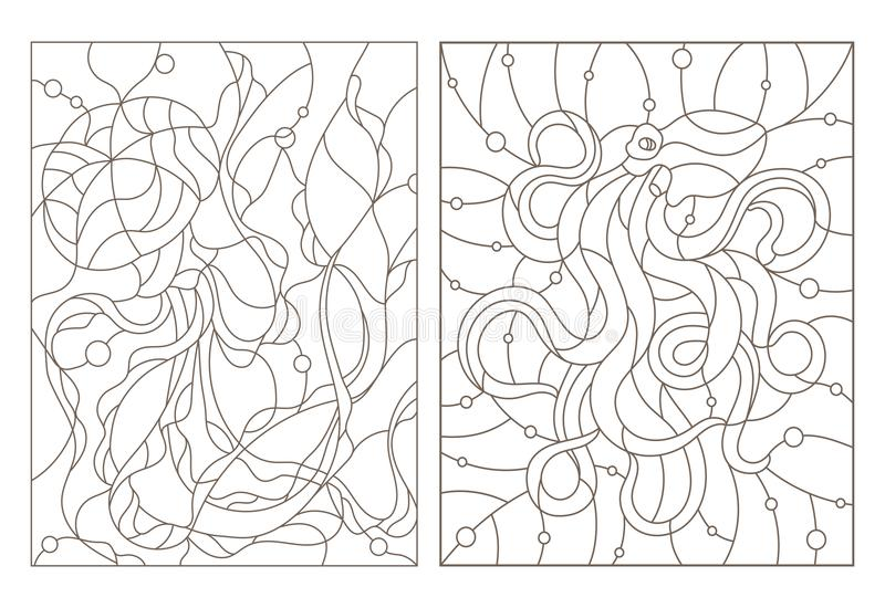 Il contorno ha messo con le illustrazioni di vetro macchiato Windows con le meduse ed il polipo, profili scuri su fondo bianco illustrazione di stock
