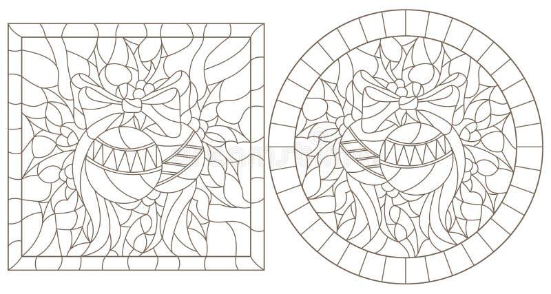 Il contorno ha messo con le illustrazioni nello stile del vetro macchiato per le decorazioni del nuovo anno e di Natale, di Natal illustrazione vettoriale