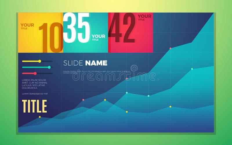 Il contrasto luminoso colora l'insieme infographic con il grafico, le scatole, il testo ed i numeri di progresso illustrazione vettoriale