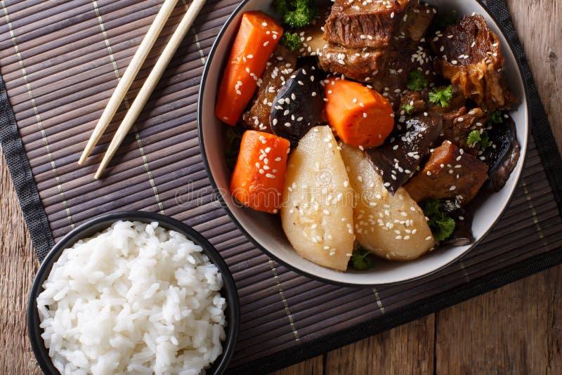 Il Coreano del jjim di Galbi ha brasato le costole di scarsità del manzo con il primo piano del riso Uff fotografie stock