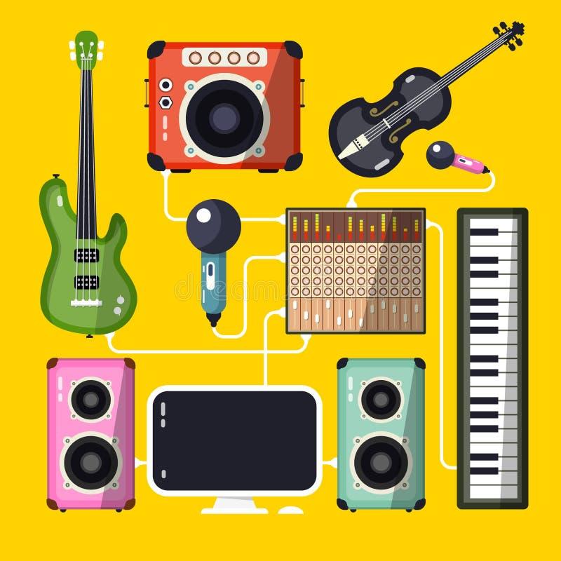 Il corno di musica ha impostato 3 illustrazione di stock