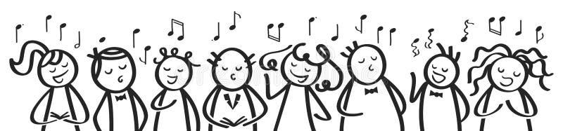 Il coro, l'insegna, gli uomini divertenti e le donne cantanti, figure in bianco e nero del bastone cantano una canzone illustrazione vettoriale