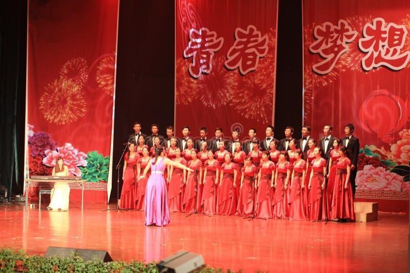 il coro mette in scena la manifestazione nella manifestazione del nuovo anno immagini stock