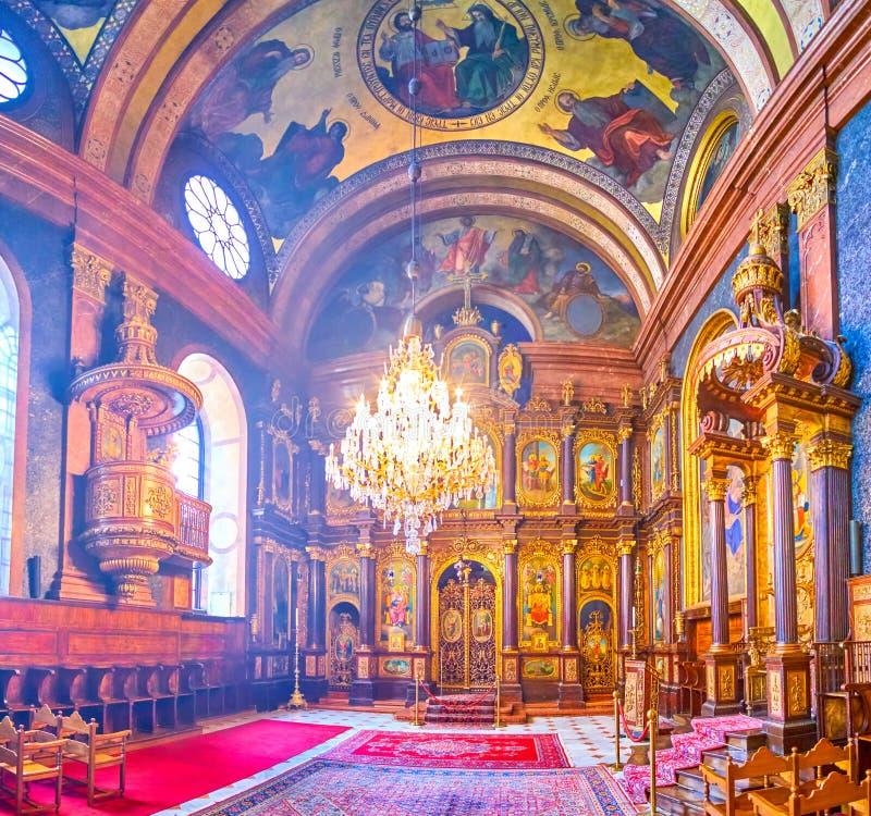 Il corridoio di preghiera della chiesa greco ortodossa della trinità santa a Vienna, Austria immagini stock
