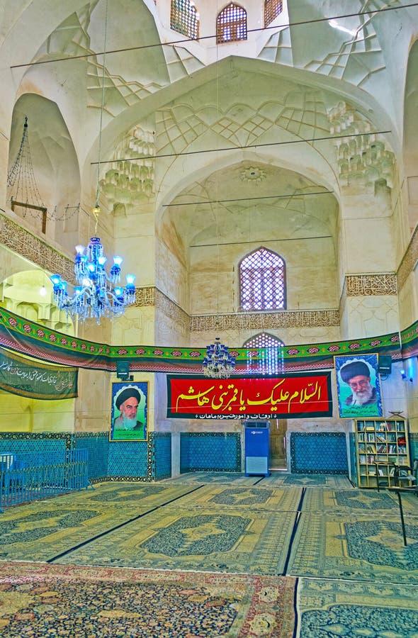 Il corridoio di preghiera dello scià Nematollah Vali Shrine, Mahan, Iran fotografie stock