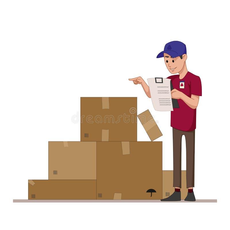 Il corriere controlla le caselle di riepilogo dei pacchetti per vedere se c'è l'invio della posta Lavoratore del magazzino o un p royalty illustrazione gratis