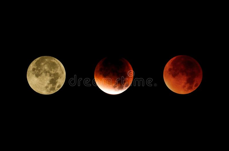 Il corso dell'eclissi lunare, un collage delle foto fotografia stock libera da diritti