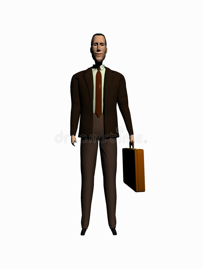 Il cortoon dell'uomo d'affari rende sopra bianco. illustrazione di stock