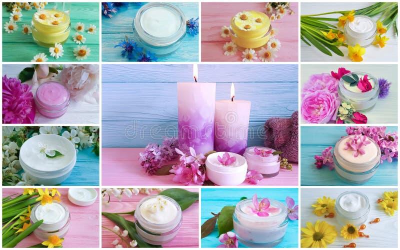 Il cosmetico crema fiorisce il collage fotografia stock