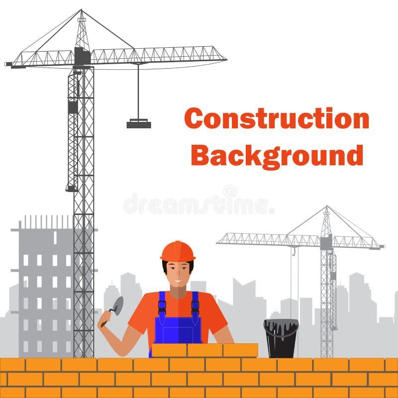 Il costruttore costruisce il muro di mattoni della casa Lavoratore o muratura, lavoro con la cazzuola, uomo in casco Illustrazion royalty illustrazione gratis