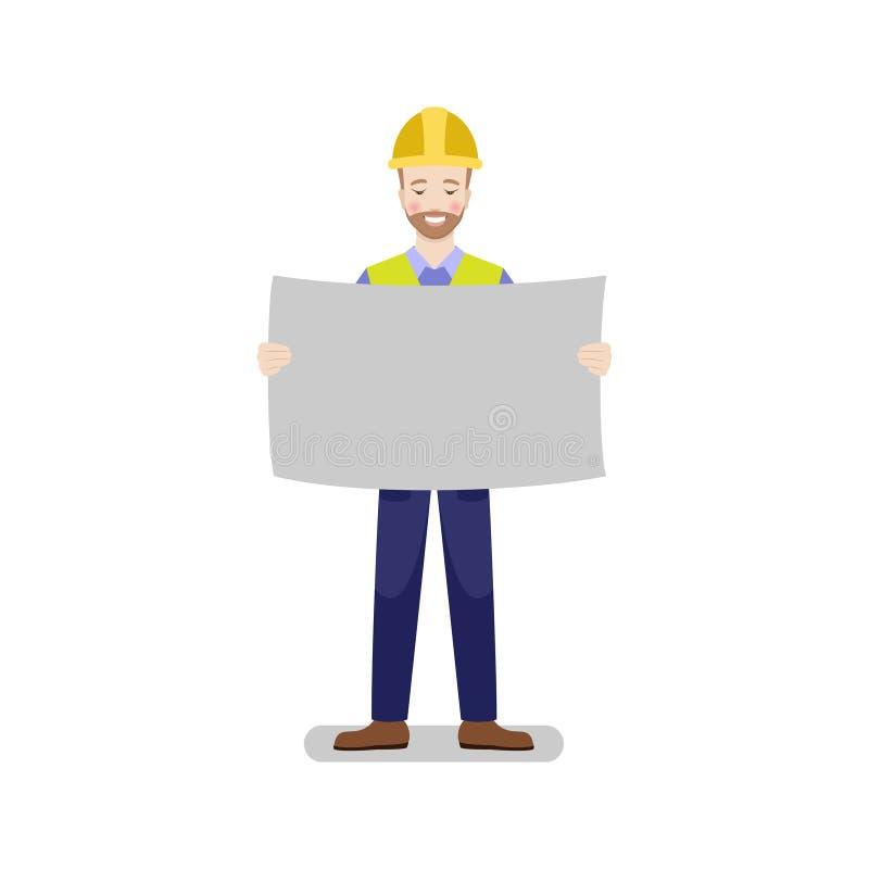 Il costruttore felice sta esaminando un piano, tenente in mani illustrazione di stock
