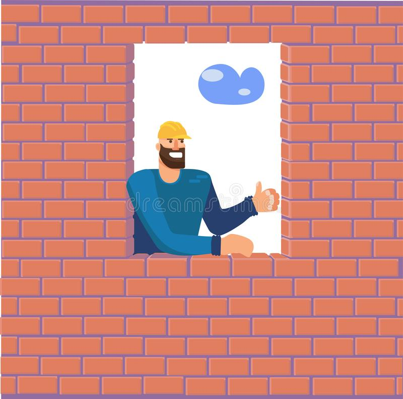 Il costruttore guarda da una finestra in un muro di mattoni che ha completato e si rallegra nel suo lavoro Un uomo ad una costruz royalty illustrazione gratis