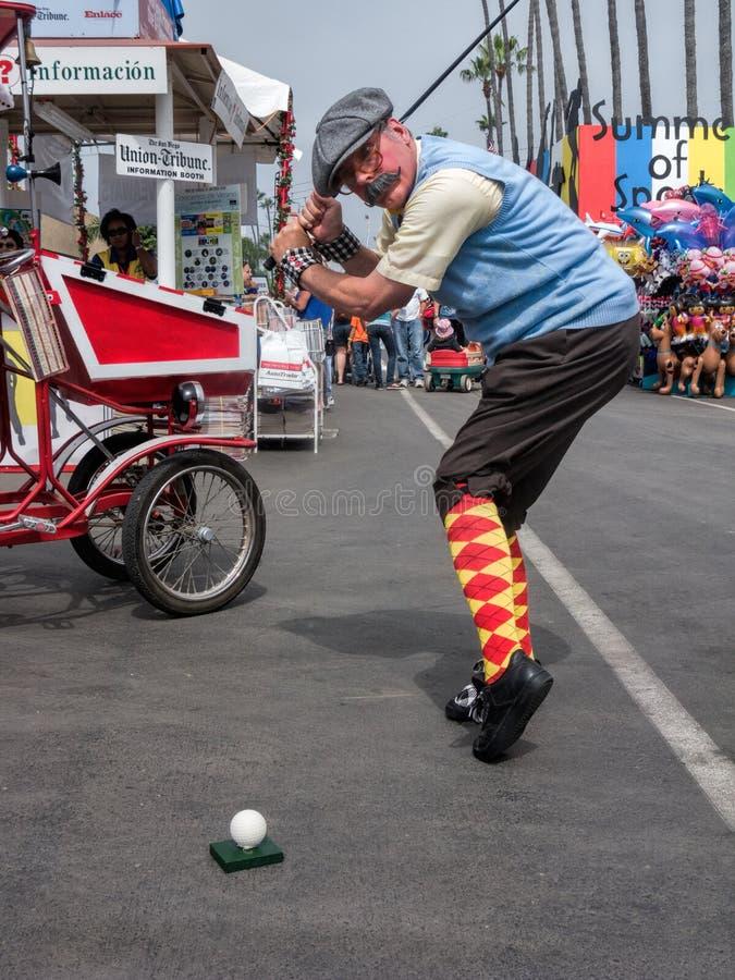 Il costume del giocatore di golf tradizionale dell'uomo, fiera della contea fotografie stock