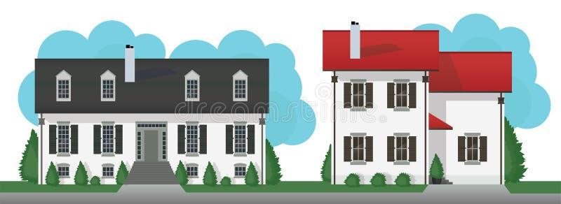 Il cottage moderno alloggia l'insieme di vettore illustrazione di stock